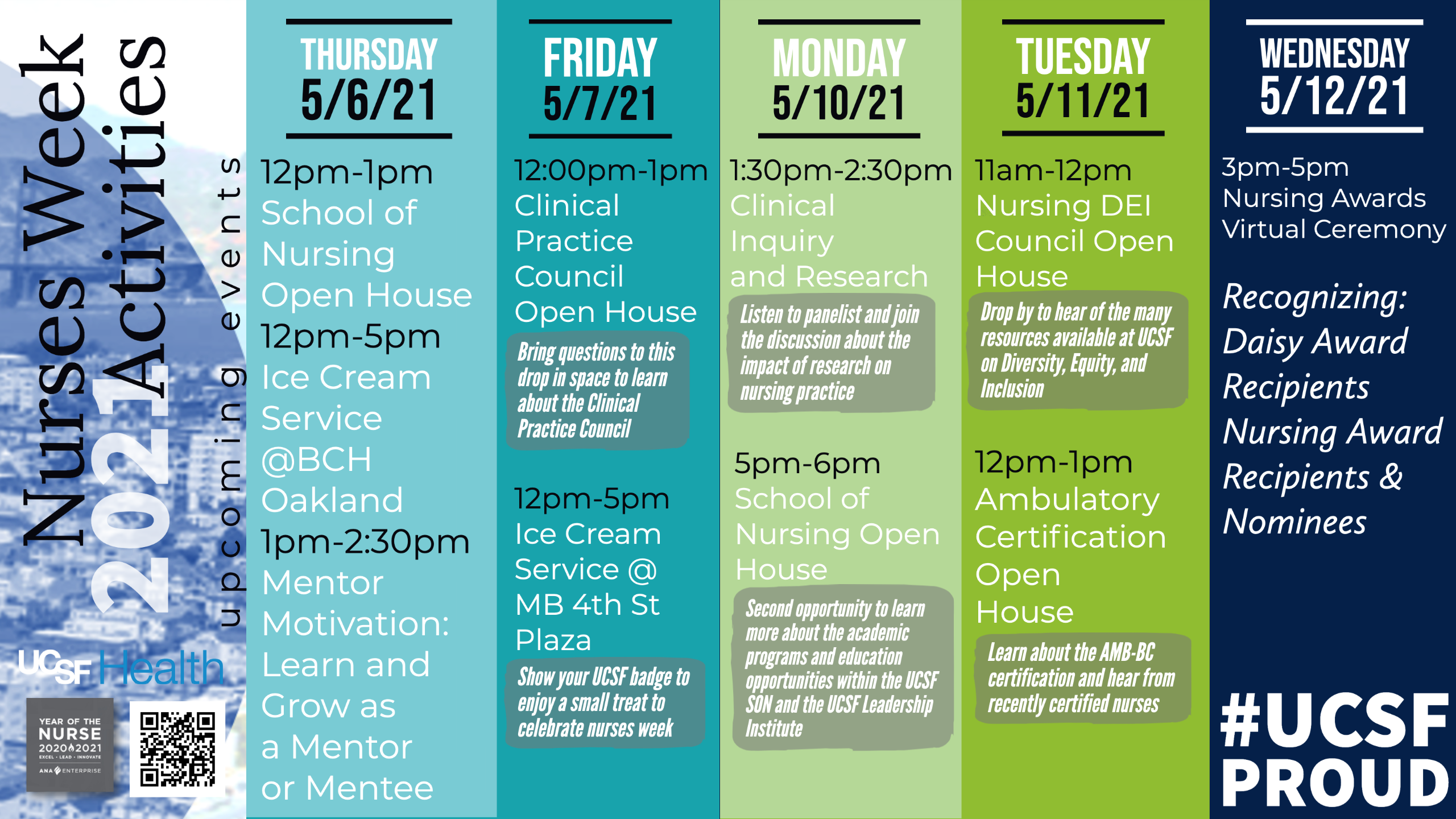 2021 UCSF Nurses Week Flyer of Events