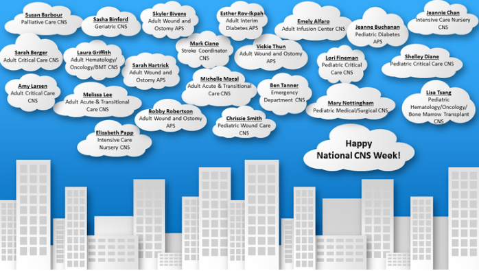 Happy National CNS Week banner with cityscape and clouds containing all of the CNS names