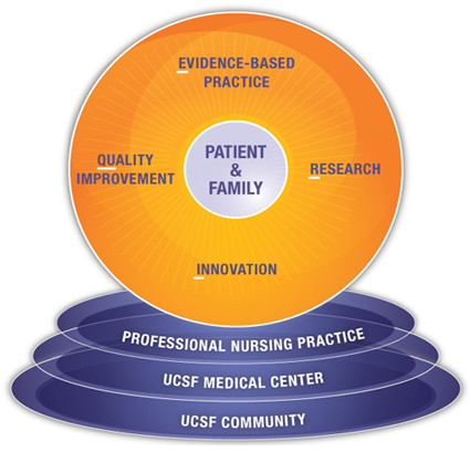 Clinical InQuERI model with Innovation, Quality Improvement, Evidence-Based Practice, and Research centered around patient and family. UCSF Community, UCSF Medical Center, and professional nursing practice as the base of the model